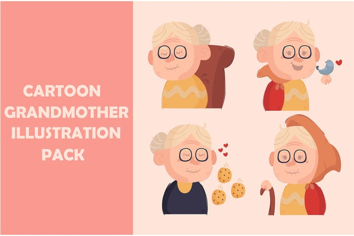 Thumbnail for Cartoon Grandmother Illustration Pack