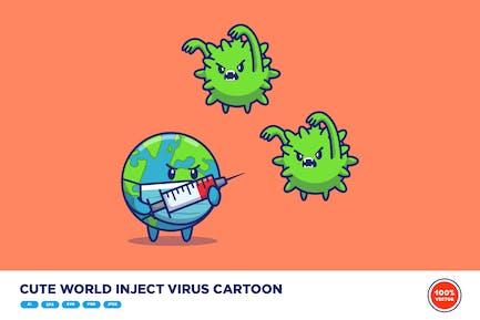Süße Welt injizieren Virus Cartoon