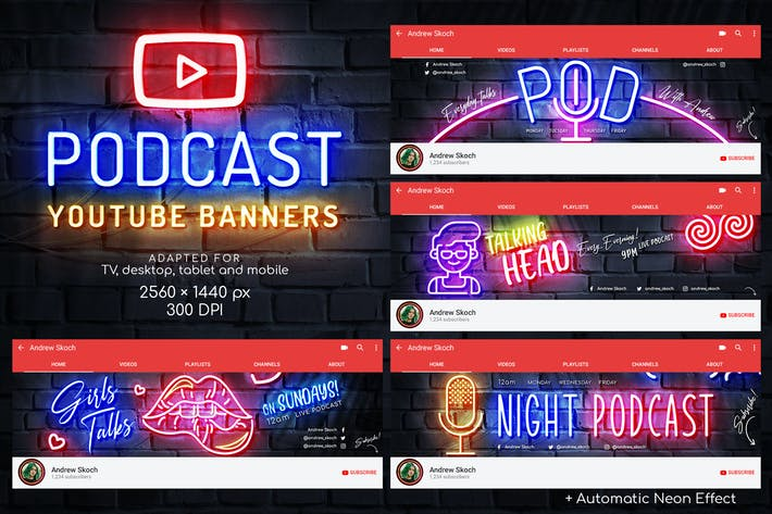 Thumbnail for Neon Podcast YouTube Templates