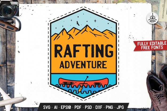 Thumbnail for Rafting Adventure Badge, Vector Retro Graphic SVG