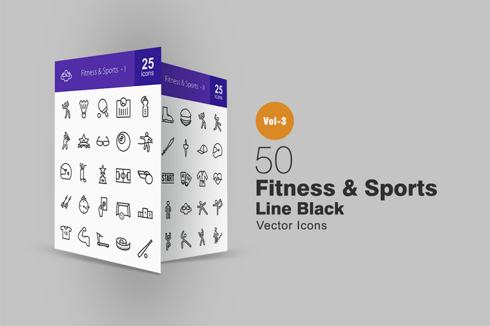 Thumbnail for 50 Fitness & Sports Line Icons