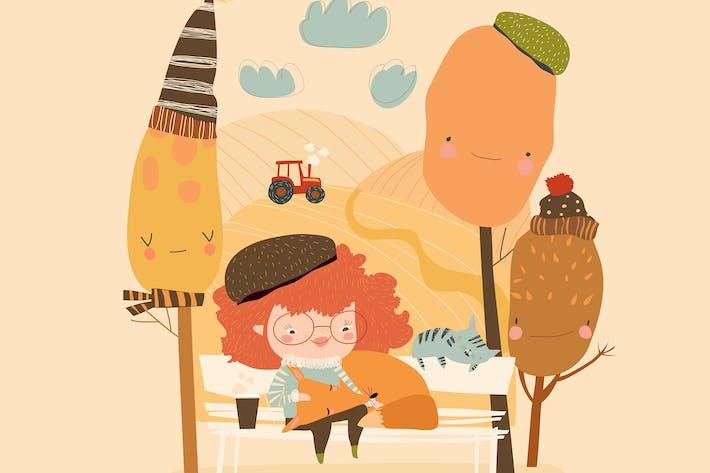 Thumbnail for Cute cartoon girl hugging fox in autumn forest.