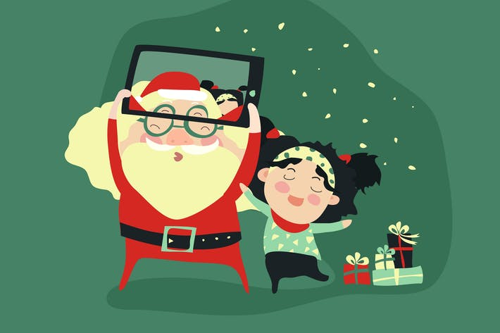 Thumbnail for Hipster santa claus and little girl selfie