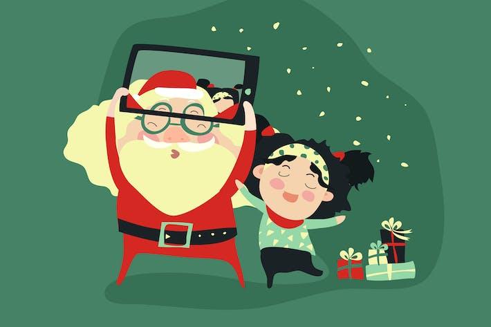 Hipster Weihnachtsmann und kleine Mädchen selfie