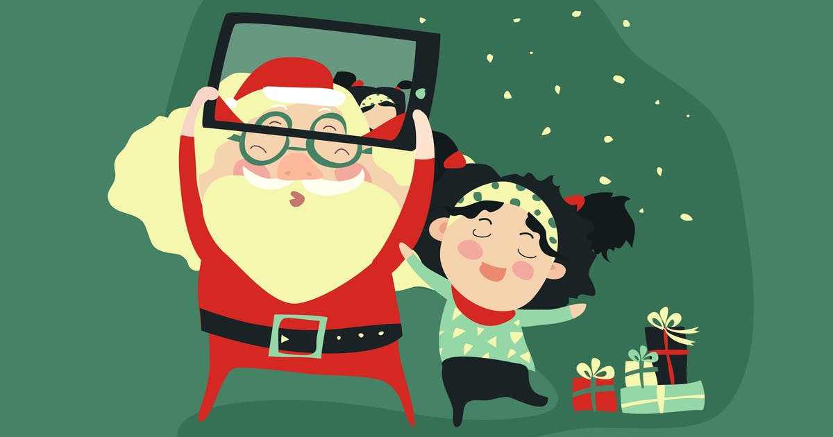 Hipster santa claus and little girl selfie by masastarus