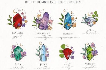 Hand Painted Birthstones Gems Illustrations.