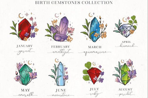 Hand Painted Birthstones Gems Illustrations.