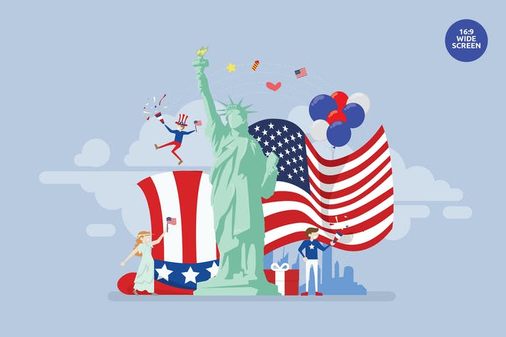 Thumbnail for USA Independence Day Vector Concept Illustration