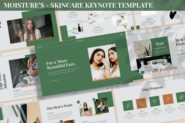 Thumbnail for Moisture's - Skincare Keynote Template