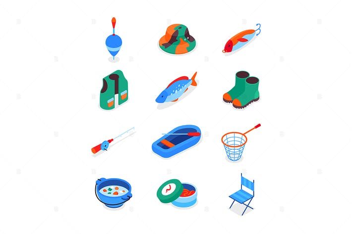 Fishing equipment - colorful isometric icons