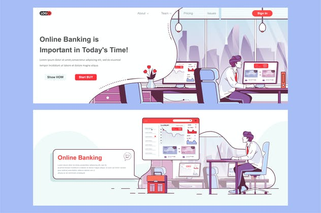 Internet banking Header Footer or Middle Content