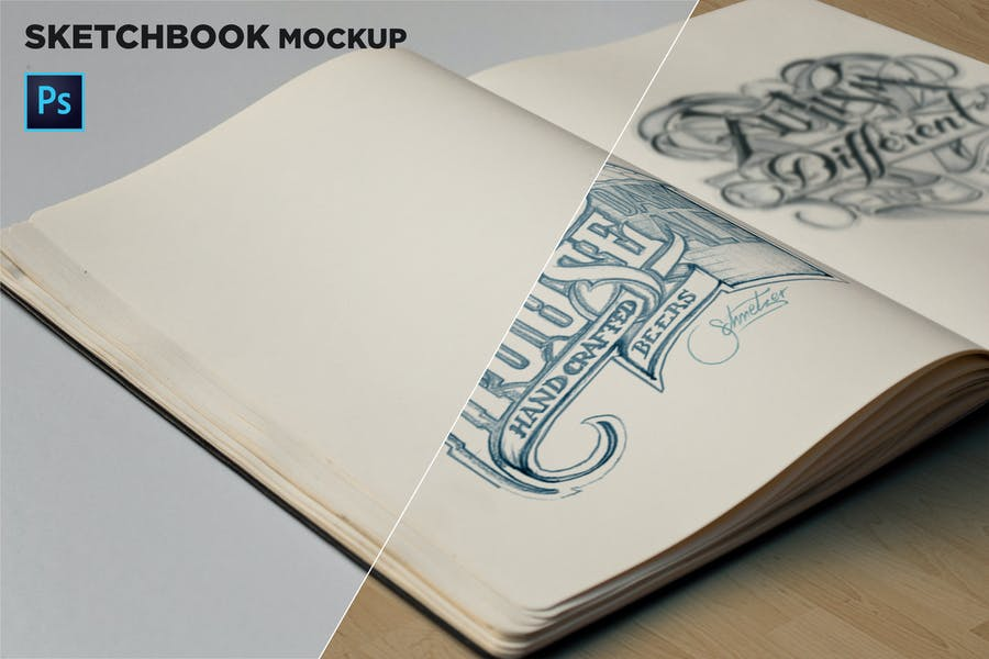Sketchbook Mockup Closeup