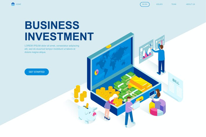 Cover Image For Investment Isometric Landing Page Template