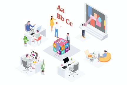 Creative Workspace Isometric Illustration - G1
