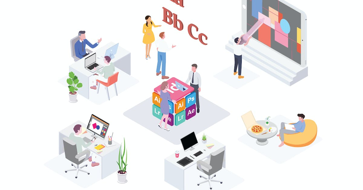 Download Creative Workspace Isometric Illustration - G1 by angelbi88