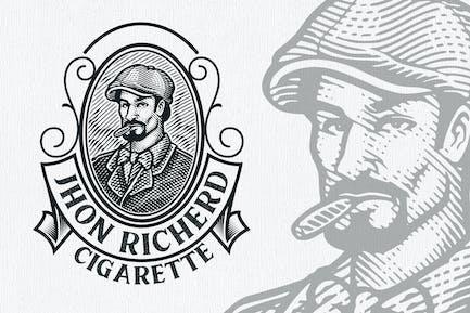 Cigarette Vintage Engraving Logo Template