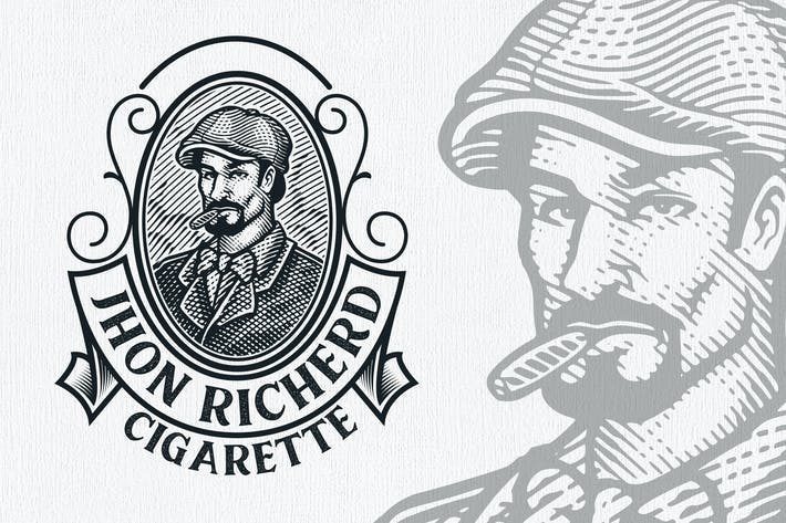 Thumbnail for Cigarette Vintage Engraving Logo Template