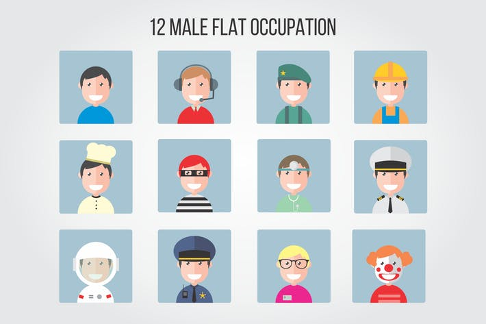 Thumbnail for 12 Male Flat Occupation Vector Illustrations