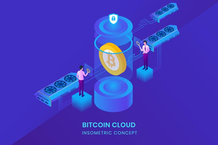 Thumbnail for Bitcoin Cloud - Insometric Vector