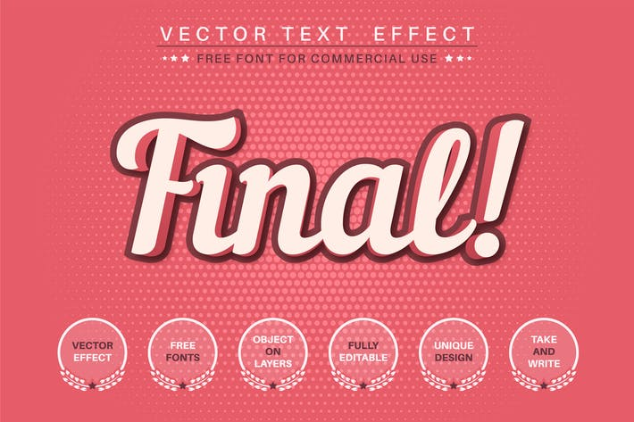 Red final - editable text effect, font style