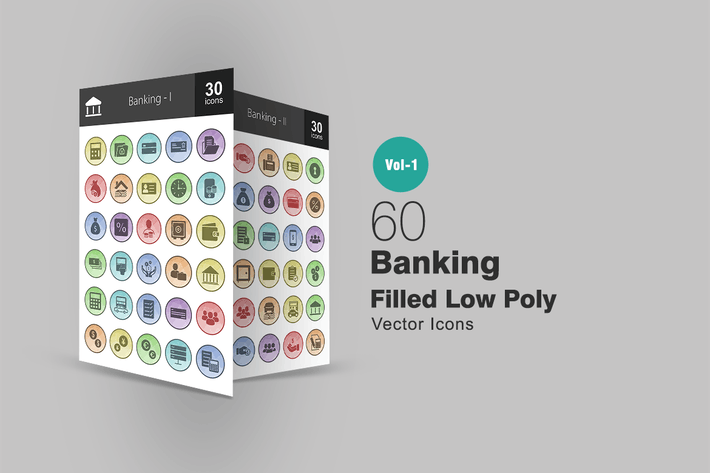 Thumbnail for 60 Banking Filled Low Poly Icons