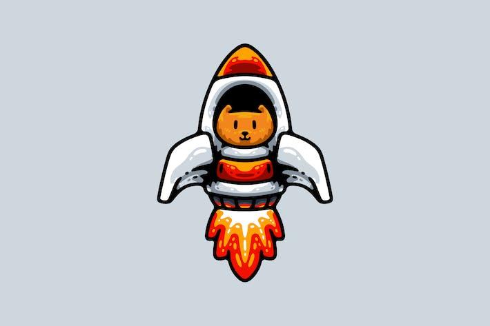 Weltraumkatze mit Rakete