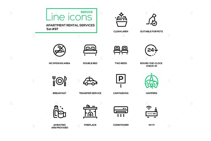 Thumbnail for Apartment rental service - line design icons set