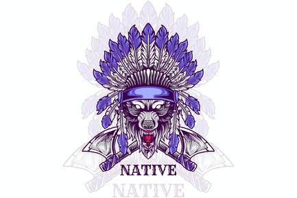 wolf head indian native illustration
