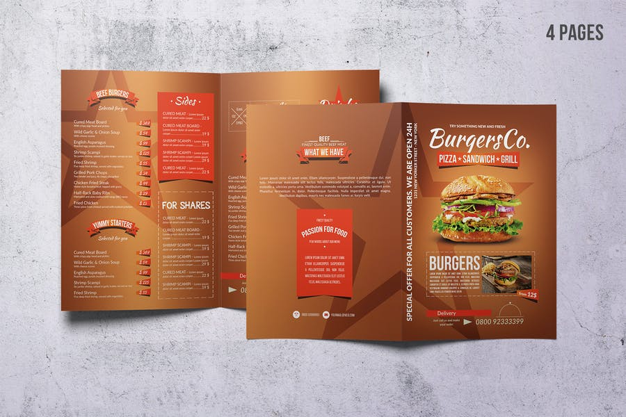 American Burgers A4 Menu - product preview 0