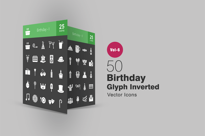 Thumbnail for 50 Birthday Glyph Inverted Icons