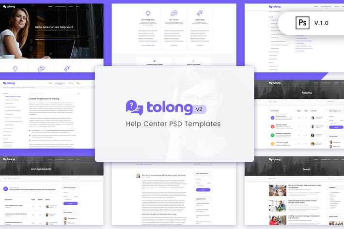 Thumbnail for Tolong - Help Desk/Knowledge Base PSD Template v2
