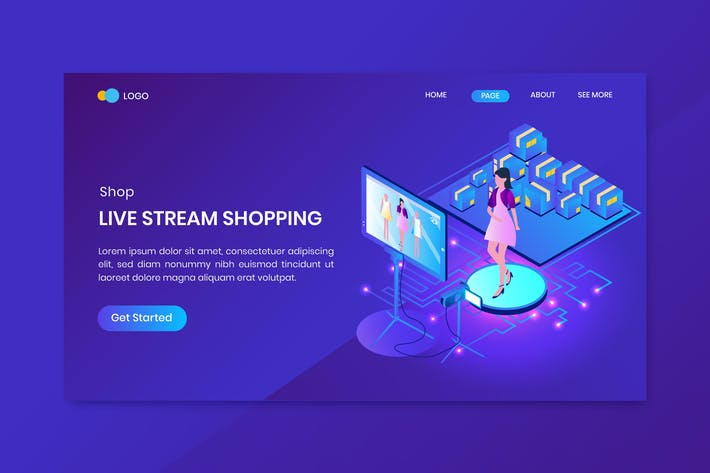 Thumbnail for Livestream Shopping Isometric Concept Landing