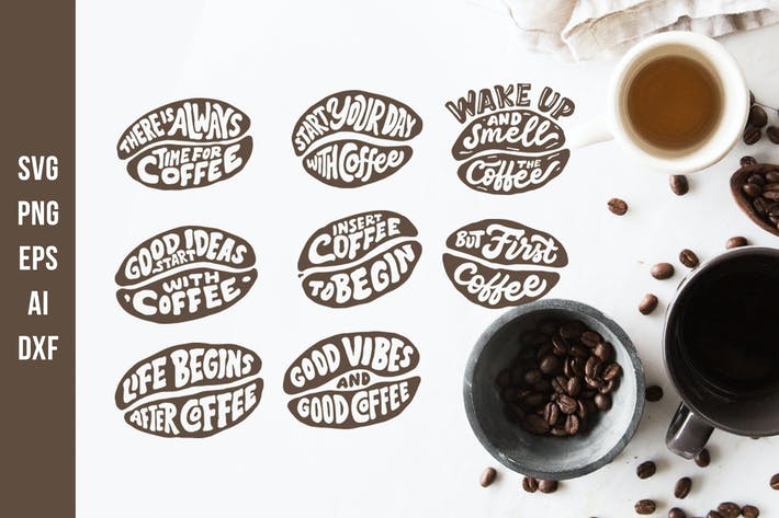 Thumbnail for Lettering Quotes in the Coffee Beans Shape SVG Cut