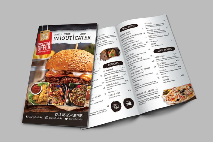 Thumbnail for A4 Bi-Fold Food Menu Template