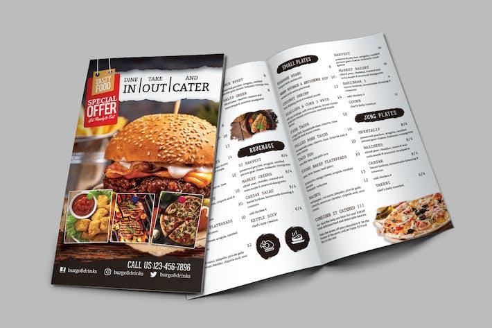 Cover Image For A4 Bi-Fold Food Menu Template