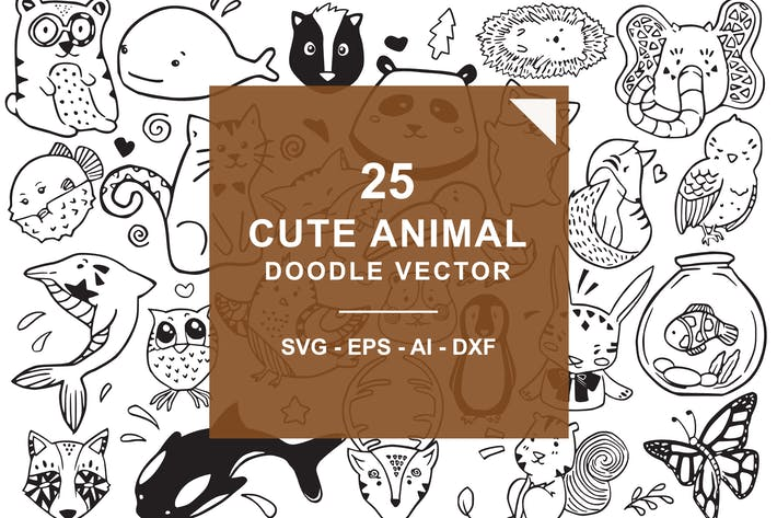 Thumbnail for Cute Animal Doodle Vector