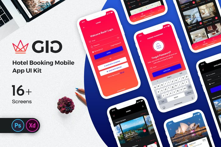 Thumbnail for GiG Hotel Booking Mobile App UI Kit