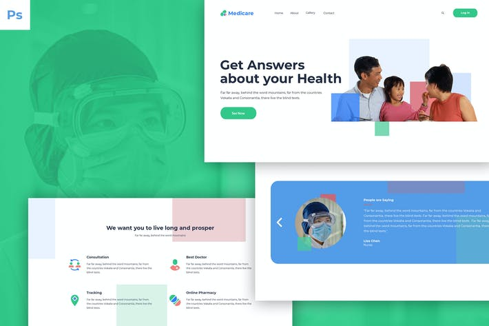 Thumbnail for Health Web UI PSD Template