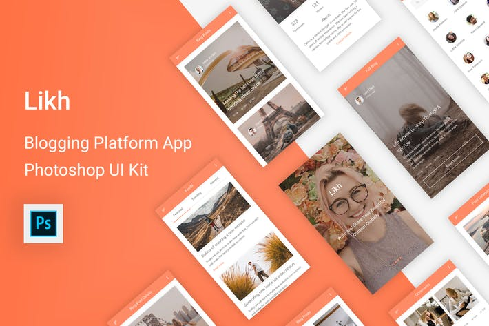 Thumbnail for Likh - Blogging Platform UI Kit for Photoshop