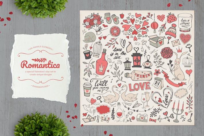 Thumbnail for Romantica. Lot de 100 éléments de griffage Vecteur.