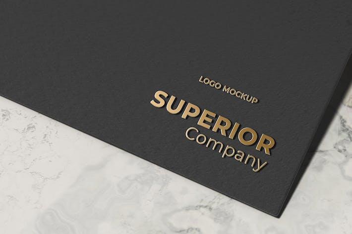 Thumbnail for Gold Embossed 3D Logo Mockup