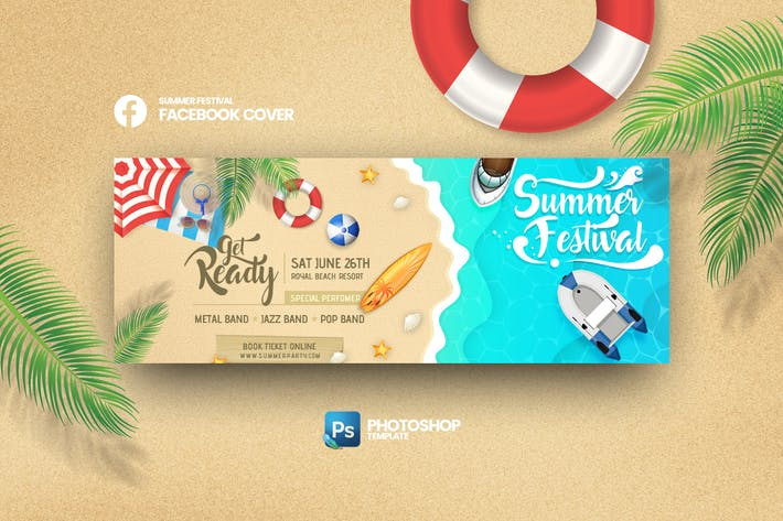 Thumbnail for Summer Festival Facebook Cover Photoshop Template