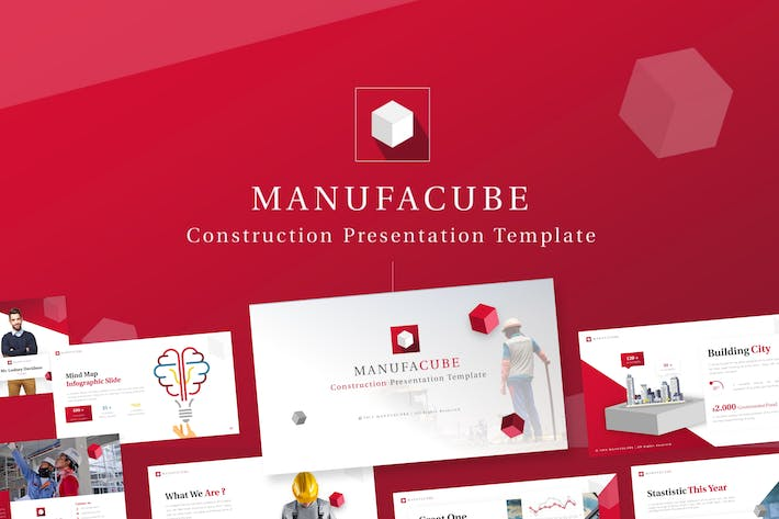 Thumbnail for Manufacube - Bau PowerPoint Vorlage