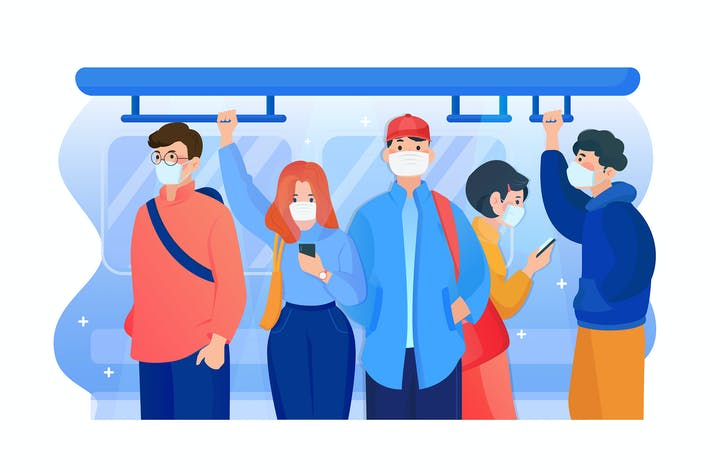 Thumbnail for People wearing mask in the subway