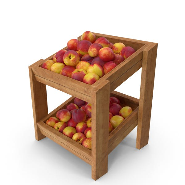 Wooden Merchandise Shelf With Nectarines