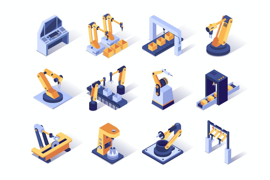Robotization Industry Isometric Icons Set