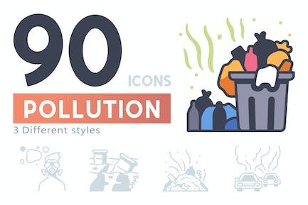 90 Pollution icon set