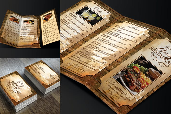 Thumbnail for Vintage Restaurant Menu Trifold + Business Card