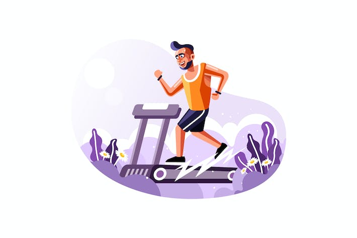 Thumbnail for Fit man running on treadmill