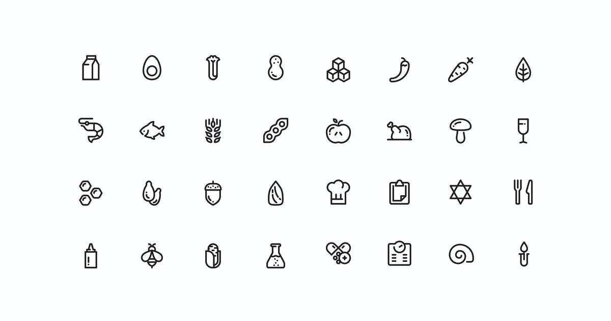 Download 32 Allergens and Diet icons by mir_design